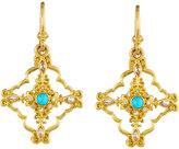 Armenta Sueno 18k Turquoise & Diamond Scroll Drop Earrings