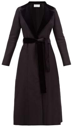 Harris Wharf London Velvet Trimmed Belted Wool Coat - Womens - Black