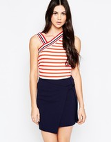 See by Chloe Stripes Tank Top With Asymmetric Shoulder