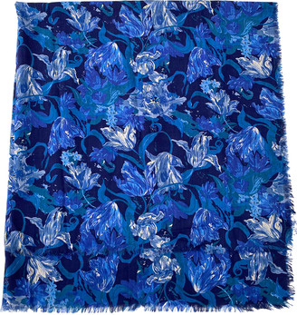 Liberty of London Designs Blue Wool Scarves