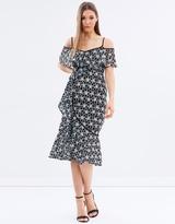 Warehouse Monochrome Lace Wrap Dress