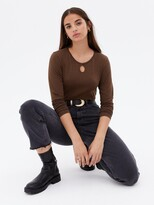 Thumbnail for your product : New Look Keyhole Long Sleeve T-Shirt - DarkBrown