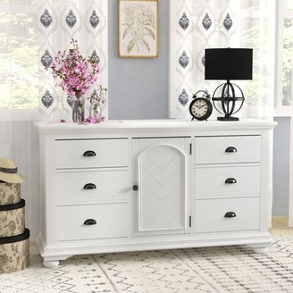 Beachcrest Home Tarquin 6 Drawer Combo Dresser Color: White