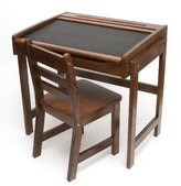 Lipper Child's Desk with Chalkboard Top and Chair Set, Walnut