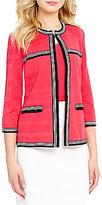 Ming Wang Jewel Neck 3/4 Sleeve Jacket