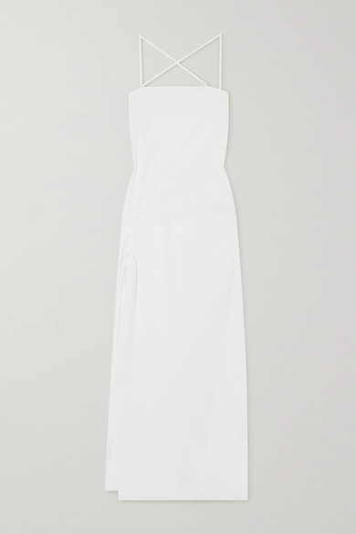 Thumbnail for your product : IOANNES Camilla Open-back Ruched Cotton-poplin Maxi Dress - White