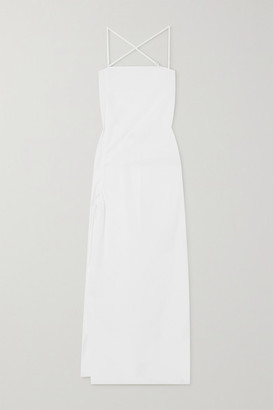 IOANNES Camilla Open-back Ruched Cotton-poplin Maxi Dress