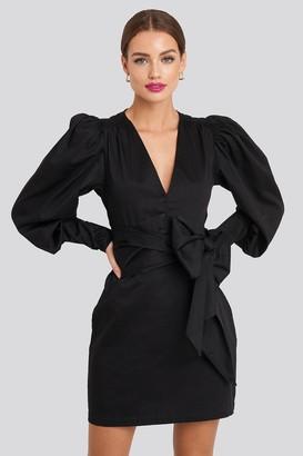 NA-KD Bow Detail Long Sleeve Mini Dress Black