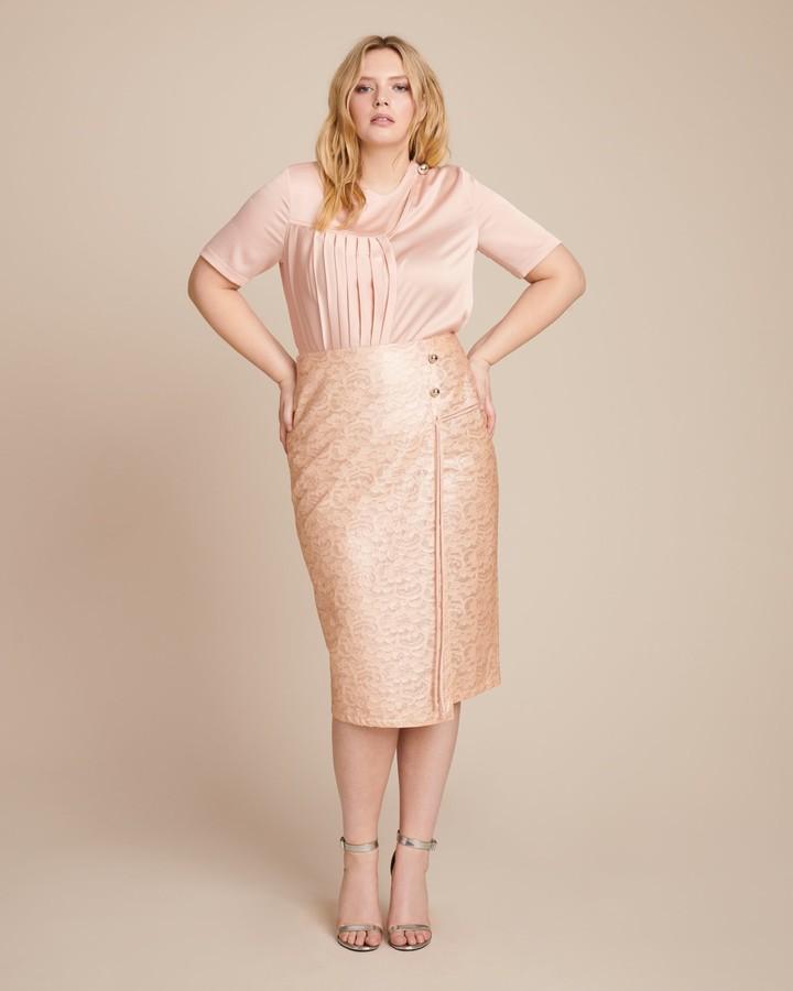 Yigal Azrouel Laminated Lace Wrap Skirt