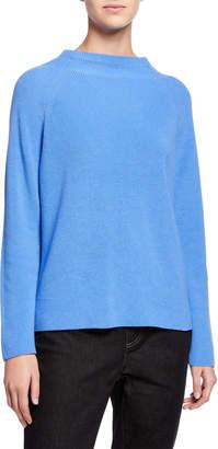 Eileen Fisher Organic Cotton/Silk Funnel-Neck Sweater