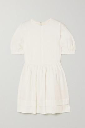 &Daughter Esther Gathered Linen Mini Dress - White