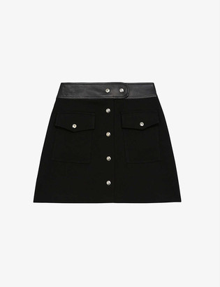 The Kooples Leather-trimmed high-waisted wool mini skirt