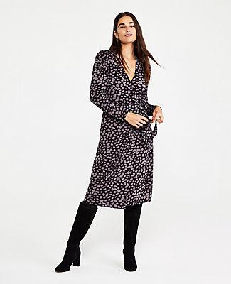 Ann Taylor Petite Giraffe Print Matte Jersey Wrap Dress