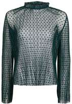 Topshop Star print ruffle plisse blouse