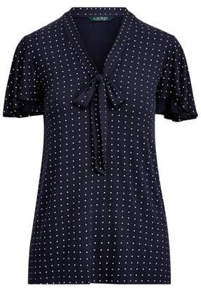 Ralph Lauren Tie-Neck Stretch Jersey Top