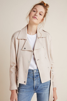 LTH JKT Nia Belted Leather Biker Jacket By in White Size XS
