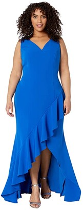 Adrianna Papell Plus Size Asymmetrical Ruffle Gown (Blue Sapphire) Women's Dress