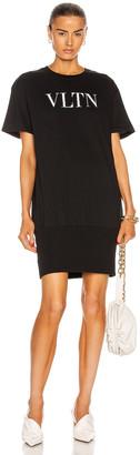 Valentino Logo T Shirt Mini Dress in Nero & Bianco   FWRD
