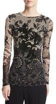 Fuzzi Long-Sleeve Floral Lace-Print Top, Black