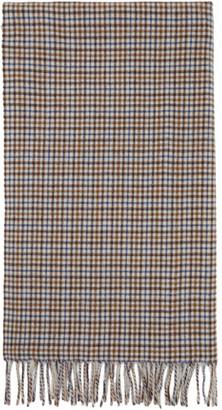 Rag & Bone White and Blue Wool Classic Plaid Scarf