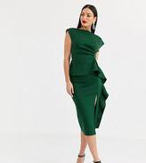 Asos Tall DESIGN Tall peplum pencil midi dress with tuck detail