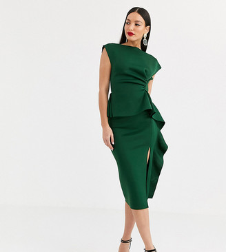 Asos Tall DESIGN Tall peplum pencil midi dress with tuck detail-Green