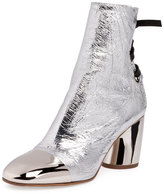 Proenza Schouler Tumbled Metallic Leather Lace-Back Boot, Silver