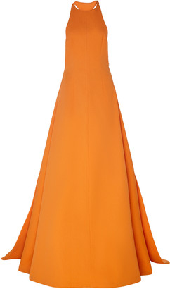 Emilia Wickstead Sleeveless Crepe Halter Gown
