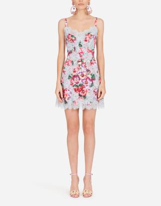 Dolce & Gabbana Short Violet-Print Charmeuse Slip Dress