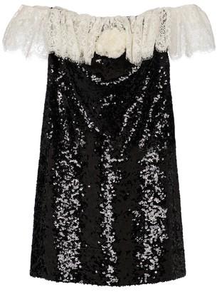Saint Laurent Lace and sequin minidress