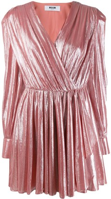 MSGM pleated metallic dress