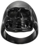 Daxx Men's Black Stainless Steel Skull Ring - Black
