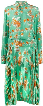 Plan C Floral-Print Layered-Effect Shirt Dress