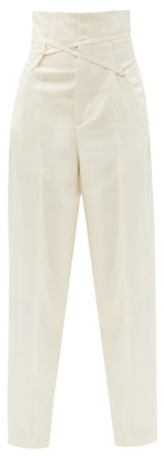 Jacquemus Novio Crossover-strap High-rise Linen Trousers - Light Beige