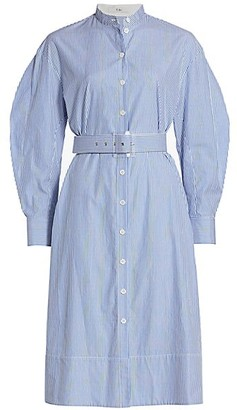 Tibi Striped Shirting Belted Shirtdress