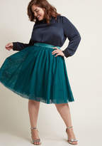 B7082 This tulle skirt is your secret weapon to finishing an enviable look with a feminine touch! Part of our ModCloth namesake label, this teal piece features layers of soft netting that gracefully gather below a silky waistband, offering sweet sophistication