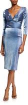 Theia Metallic V-Neck 3/4-Sleeve Cocktail Dress