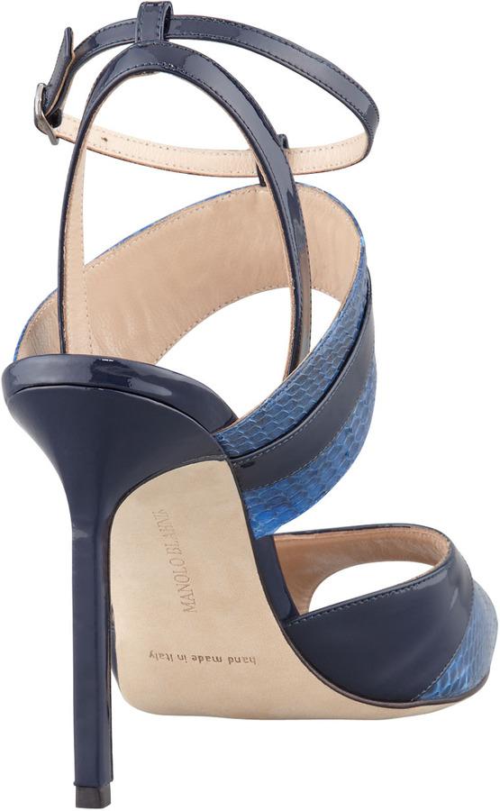 Manolo Blahnik Sibile Strappy Snakeskin Sandal