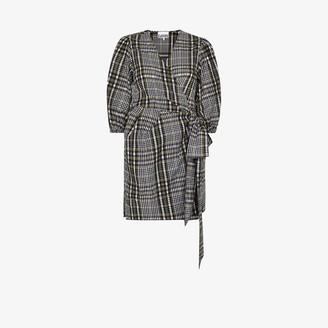 Ganni Checked Seersucker Wrap Mini Dress