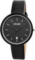 Crayo Womens Easy Black Leather-Band Watch With Date Cracr2402