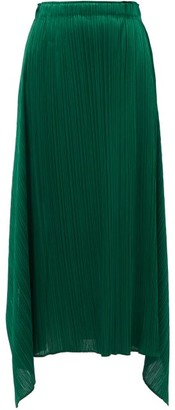Pleats Please Issey Miyake Handkerchief-hem Technical-pleated Jersey Skirt - Dark Green