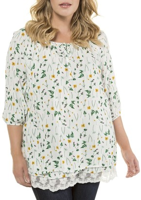 Ulla Popken Floral Print Round Neck Blouse with 3/4 Length Sleeves