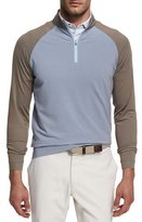 Peter Millar Crown Sport Perth Sugar-Stripe Quarter-Zip Sweater, Light Brown