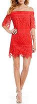 I.N. San Francisco Off-The-Shoulder Eyelash Lace Sheath Dress