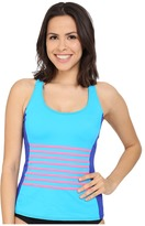 DKNY A Lister Racerback Tankini w/ Stripping Detail & Removable Soft Cups