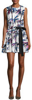 Emilio Pucci Sleeveless Ruffled Drawstring-Bow Dress, White/Multi