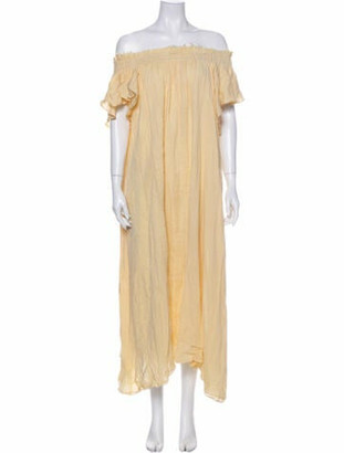 Loup Charmant Off-The-Shoulder Midi Length Dress Yellow