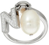 Honora As Is Cultured Pearl 9.0mm & Crystal Initial Charm Ring