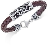 Thumbnail for your product : Sutton by Rhona Sutton Men's Stainless Steel Brown Leather Bracelet