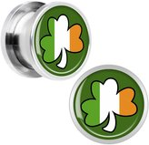 Body Candy Stainless Steel Lucky Ireland Shamrock Screw Fit Plug Pair 1/2""